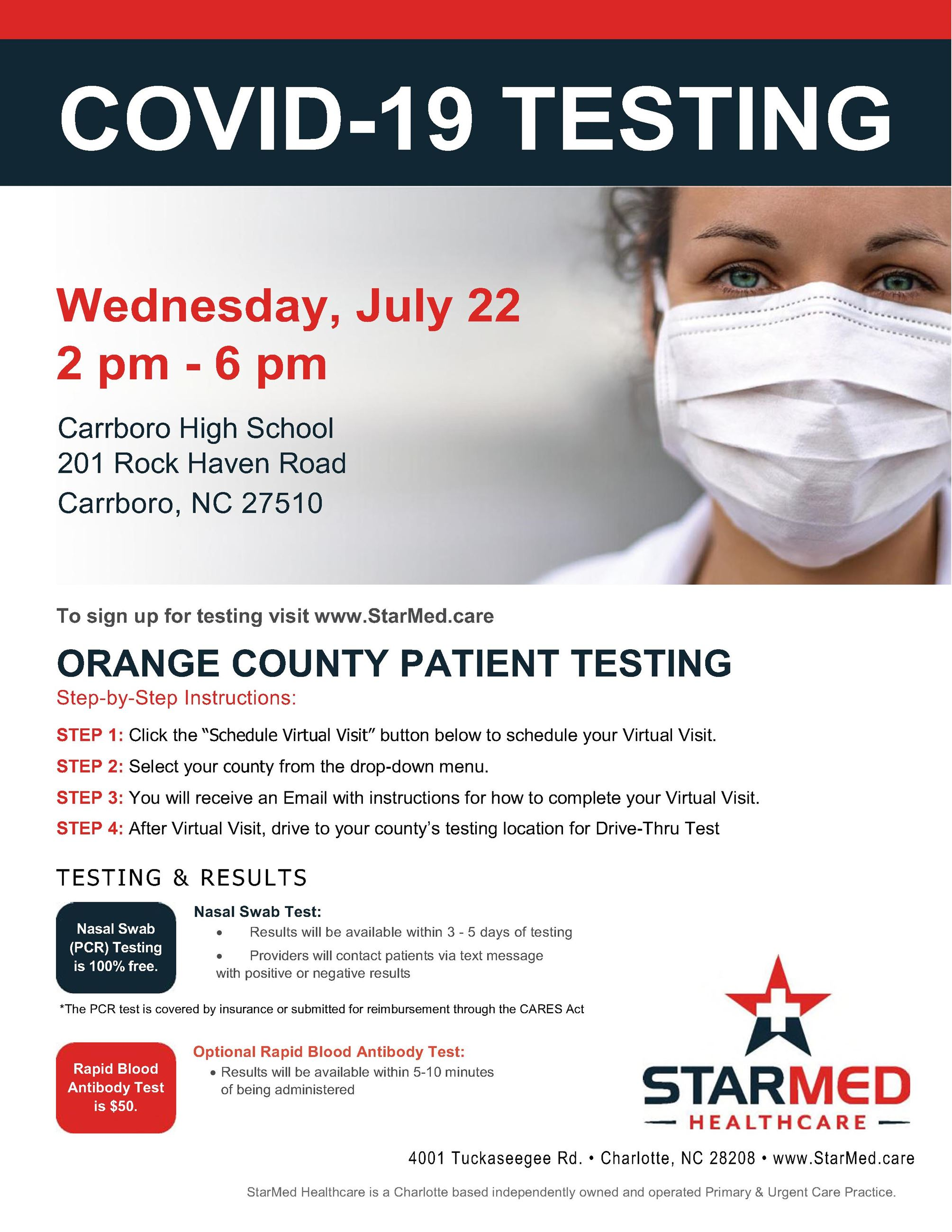 COVID-19 Testing in Orange County/Carrboro (English)
